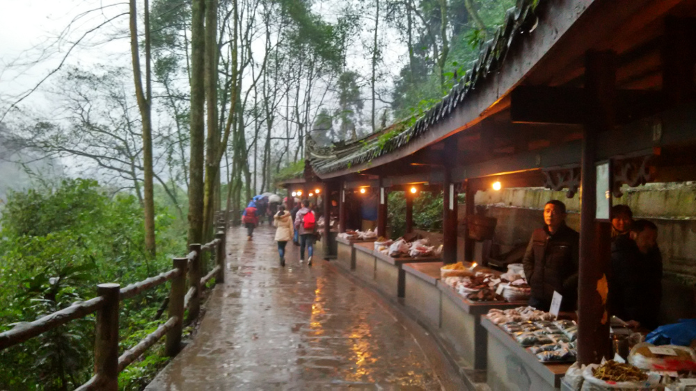 A traditioal market in the valley of Mount Emei, Sichuan